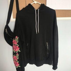 Rue21 Black Hoodie w/ Floral Design Sleeve